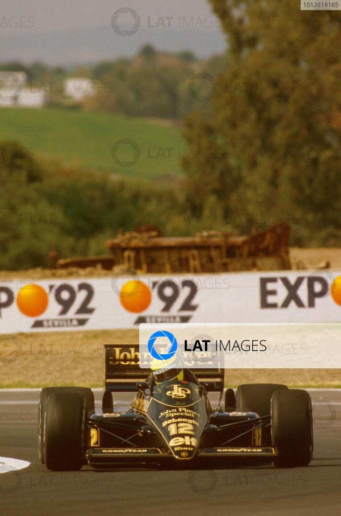 Jerez, Spain.11-13 April 1986.Ayrton Senna (Lotus 98T Renault) 1st position.Ref-86 ESP 19.World Copyright - LAT Photographic