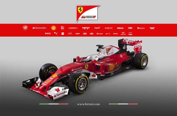 Ferrari SF16-H Reveal. Friday 19 February 2016. The Ferrari SF16-H. Photo: Ferrari (Copyright Free FOR EDITORIAL USE ONLY) ref: Digital Image 160001_new-SF16-h_3-4_2016_sponsor