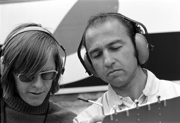 Richard Divila(BRA), Copersucar designer left, and Team Manager Jo Ramirez(MEX) Belgian GP, Zolder,  25 May 1975