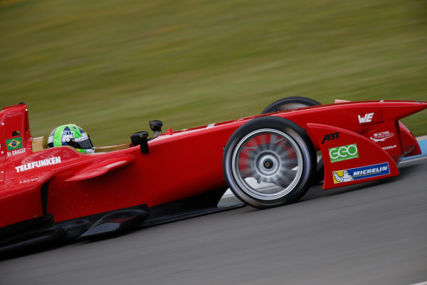 FIA Formula E Test Day, Donington Park, UK.  9th - 10th July 2014.  Lucas di Grassi, Audi Sport Abt. Photo: Glenn Dunbar/FIA Formula E ref: Digital Image _89P3754