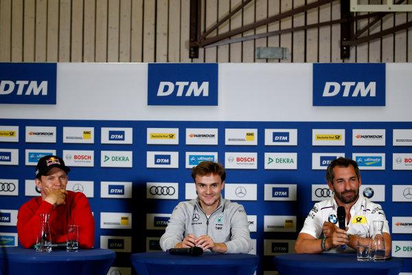 2017 DTM Round 4 Norisring, Nuremburg, Germany Friday 30 June 2017. Press Conference, Mattias Ekström, Audi Sport Team Abt Sportsline, Audi A5 DTM, Lucas Auer, Mercedes-AMG Team HWA, Mercedes-AMG C63 DTM, Timo Glock, BMW Team RMG, BMW M4 DTM World Copyright: Alexander Trienitz/LAT Images ref: Digital Image 2017-DTM-R4-NOR-AT2-0108
