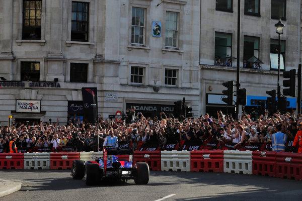 London, United Kingdom.  Wednesday 12 July 2017. Carlos Sainz Jr, Toro Rosso STR12 Renault.  World Copyright: Zak Mauger/LAT Images  ref: Digital Image _54I2345