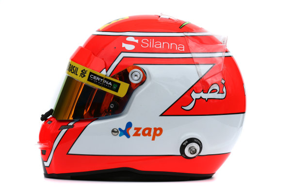 Albert Park, Melbourne, Australia. Helmet of Felipe Nasr, Sauber.  Thursday 12 March 2015. World Copyright: LAT Photographic. ref: Digital Image 2015_Helmet_037