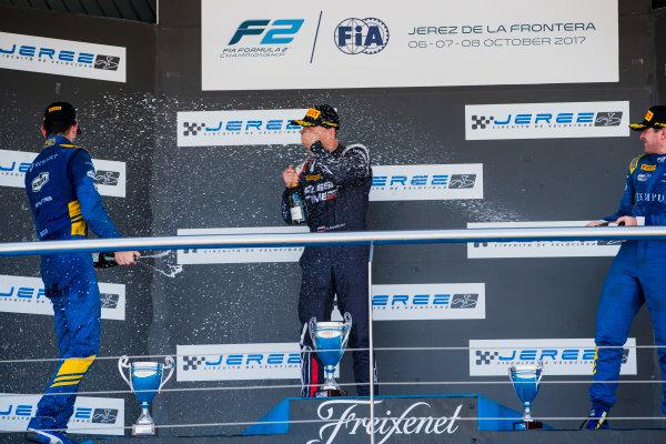 2017 FIA Formula 2 Round 10. Circuito de Jerez, Jerez, Spain. Sunday 8 October 2017. Nicholas Latifi (CAN, DAMS), Artem Markelov (RUS, RUSSIAN TIME), Oliver Rowland (GBR, DAMS).  Photo: Zak Mauger/FIA Formula 2. ref: Digital Image _X0W2939