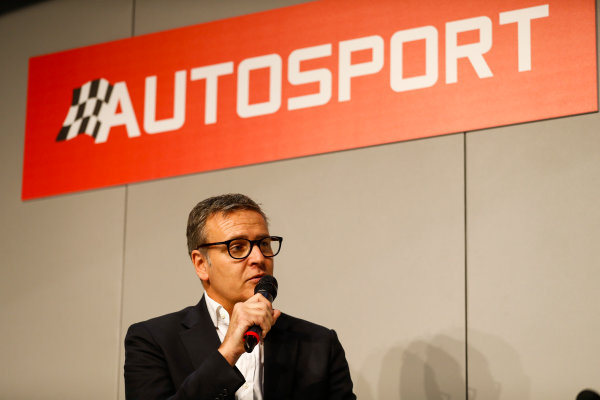 Autosport International Exhibition. National Exhibition Centre, Birmingham, UK. Friday 12th January 2018. A guest talks to Henry Hope-Frost on the Autosport Stage. World Copyright: Glenn Dunbar/LAT Images Ref: _31I2894