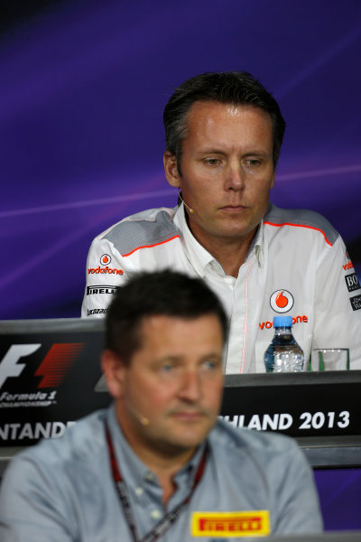 Nurburgring, Germany 5th July 2013 Sam Michael, Sporting Director, McLaren, and Paul Hembery, Director, Pirelli, in the Friday Press Conference World Copyright: Charles Coates/  ref: Digital Image _N7T9131