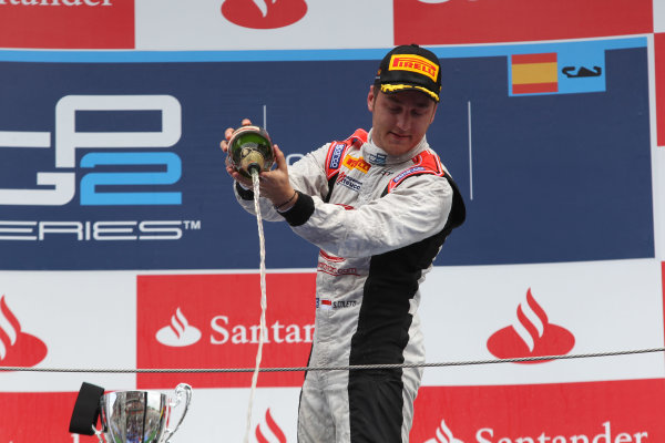 2013 GP2 Series. Round 3.  Circuit de Catalunya, Barcelona Spain. 12th May 2013. Sunday Race. Stefano Coletti (MON, Rapax) celebrates his victory on the podium.  World Copyright: Malcolm Griffiths/GP2 Series Media Service. Ref: C76D6045