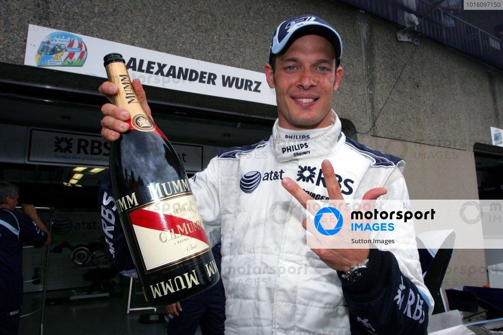 Alex Wurz (AUT) Williams celebrates finishing in 3rd position.