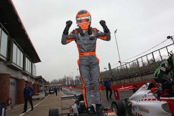 2016 BRDC British Formula 3 Championship, Brands Hatch, Kent. 16th - 17th April 2016. Matheus Leist (BRA) Double R Racing BRDC F3. World Copyright: Ebrey / LAT Photographic.