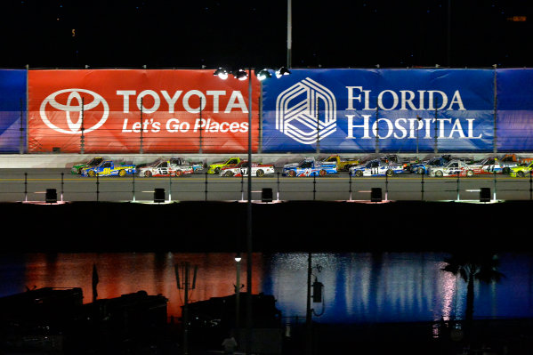 18-19 February, 2016, Daytona Beach, Florida USA Ryan Truex, Cameron Hayley and Timothy Peters race Johnny Sauter for the lead in the closing laps. ?2016, F. Peirce Williams LAT Photo USA