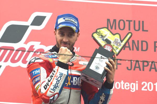 2017 MotoGP Championship - Round 15 Motegi, Japan. Sunday 15 October 2017 Podium: race winner Andrea Dovizioso, Ducati Team World Copyright: Gold and Goose / LAT Images ref: Digital Image 21991