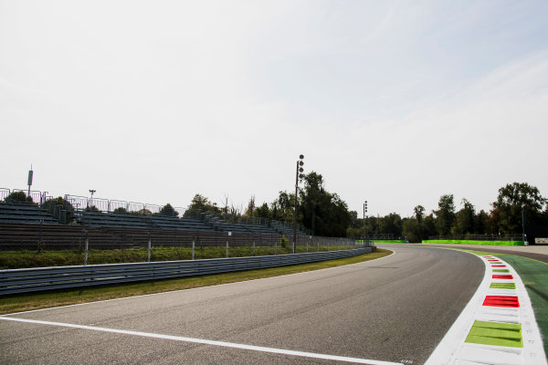 2017 FIA Formula 2 Round 9. Autodromo Nazionale di Monza, Monza, Italy. Thursday 31 August 2017. A view of the exit of Parabolica. Photo: Zak Mauger/FIA Formula 2. ref: Digital Image _56I4878