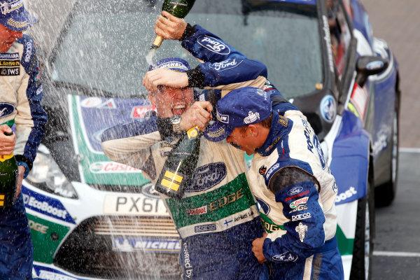 Round 10- Wales Rally GB 12-16/9- 2012.Jari-Matti Latvala, Miikka Anttila, Petter Solberg, Ford WRC, Podium.Worldwide Copyright: McKlein/LAT