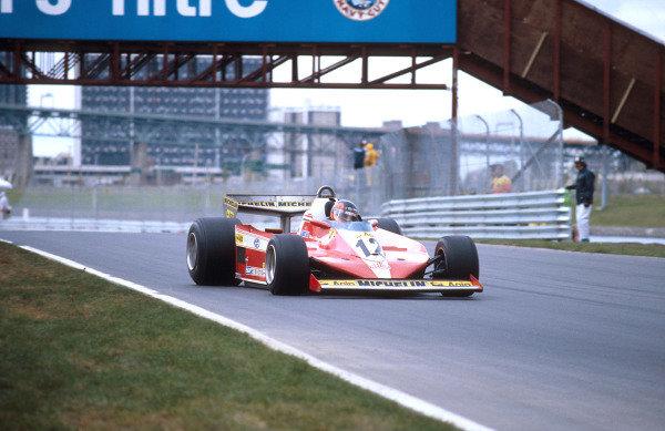 1978 Canadian Grand Prix.Montreal, Quebec, Canada.6-8 October 1978.Gilles Villeneuve (Ferrari 312T3) 1st position for his maiden Grand Prix win. Ref-78 CAN 01.World Copyright - LAT Photographic