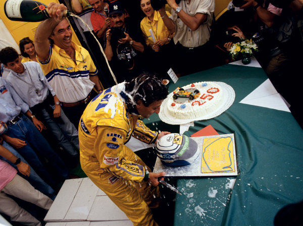 2003 Racing Past. . Exhibition1993 German Grand Prix, Hockenheim. Riccardo Patrese celebrates his 250th Grand Prix start.World Copyright - LAT PhotographicExhibition ref: a068