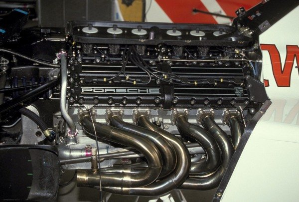 The Porsche engine in one of the Footwork A11Cs.