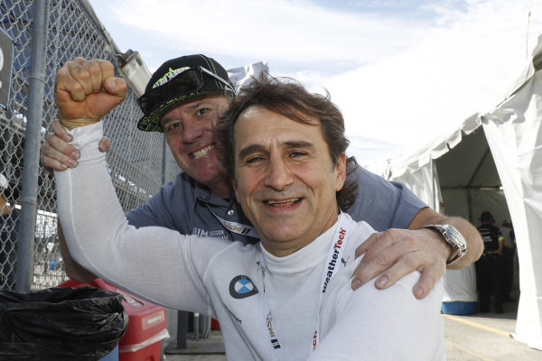 #12 AIM Vasser Sullivan Lexus RC F GT3, GTD team owner Jimmy Vasser with his old teammate Alex Zanardi #24 BMW Team RLL BMW M8 GTE, GTLM