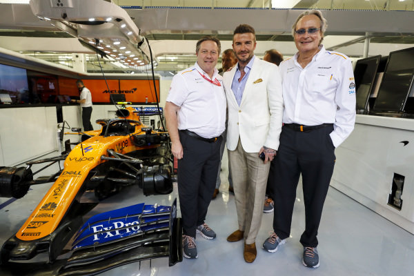 David Beckham with Zak Brown, McLaren Executive Director and Mansour Ojjeh, co-owner, McLaren