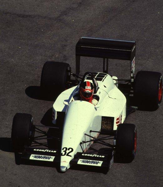1988 Brazilian Grand Prix.Jacarepagua, Rio de Janeiro, Brazil.1-3 April 1988.Oscar Larrauri (EuroBrun ER188 Ford).World Copyright - LAT Photographic