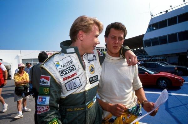 (L to R): Mika Hakkinen (FIN) Lotus and Michael Schumacher (GER) Benetton. Portugese Grand Prix, Estoril, 22 September 1991.
