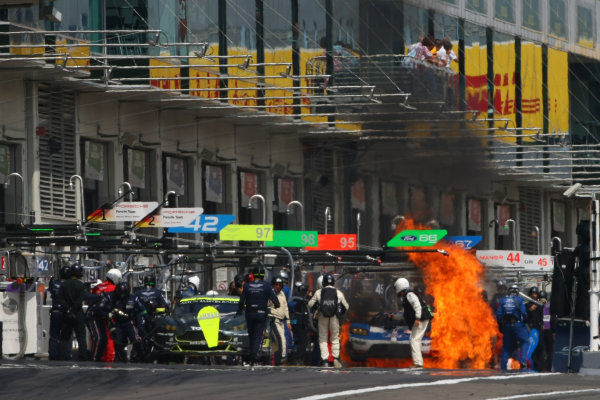 2016 FIA World Endurance Championship, Nurburgring, Germany. 22nd-24th July 2016, Stefan Mucke / Oliver Pla - Ford GT on fire World Copyright. Lord/ Ebrey/LAT Photographic