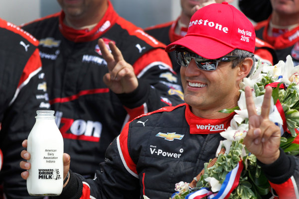 24 May, 2015, Indianapolis, Indiana, USA Juan Pablo Montoya celebrates in victory lane after winning the 99th Indianapolis 500 ©2015, Ernie Masche LAT Photo USA