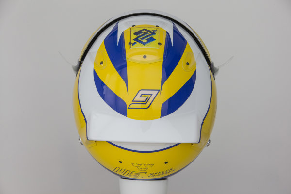 Hinwil, Switzerland. Thursday 29 January 2015. Helmet of Marcus Ericsson, Sauber.  World Copyright: Sauber F1 Team (Copyright Free FOR EDITORIAL USE ONLY) ref: Digital Image 2015_SAUBER_HELMET_13