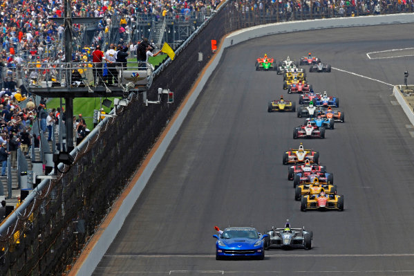 26 May, 2013, Indianapolis, Indiana, USA The Chevy Corvette Pace Car leads Tony Kanaan (#11) to the white flag. ©2013, F. Peirce Williams LAT Photo USA