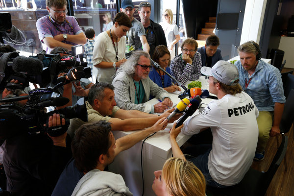 Silverstone, Northamptonshire, England 30th June 2013 Nico Rosberg, Mercedes AMG faces questions from the media after the stewards enquiry World Copyright: Charles Coates/  ref: Digital Image _N7T4994