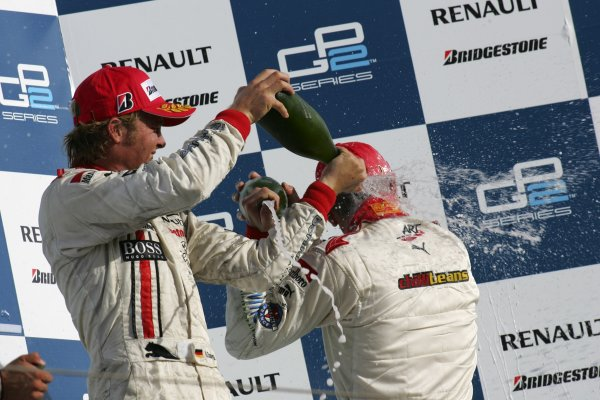 2005 GP2 Series - BahrainSakhir, Bahrain28th-30th September 2005Friday Race 2Nico Rosberg (D, ART Grand Prix) celebrates on the podium.Copyright: GP2 Series Media Service ref: Digital Image Only
