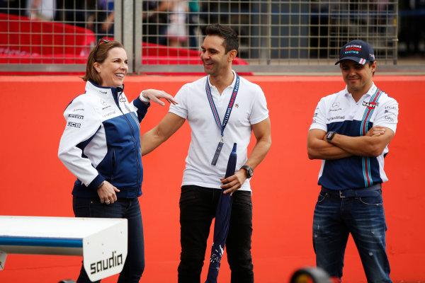 Williams 40 Event Silverstone, Northants, UK Friday 2 June 2017. Claire Williams, Antonio Pizzonia and Felipe Massa, Williams Martini Racing.  World Copyright: Joe Portlock/LAT Images ref: Digital Image _L5R0547