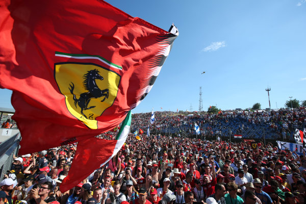 Hungaroring, Budapest, Hungary.  Sunday 30 July 2017. Ferrari fans celebrate after the race. World Copyright: Coates/LAT Images  ref: Digital Image AN7T9783