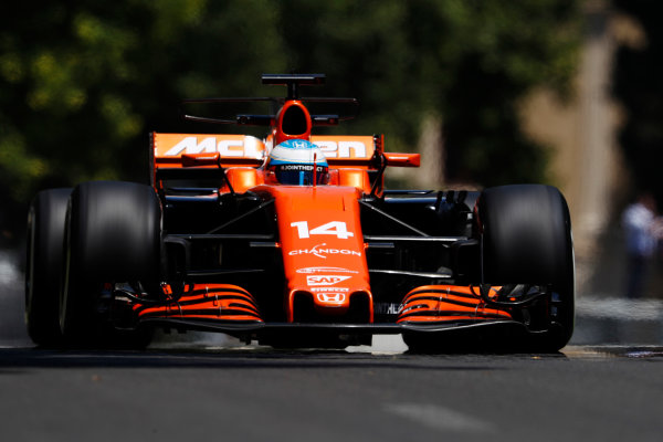 Baku City Circuit, Baku, Azerbaijan. Friday 23 June 2017. Fernando Alonso, McLaren MCL32 Honda.  World Copyright: Glenn Dunbar/LAT Images ref: Digital Image _X4I9329