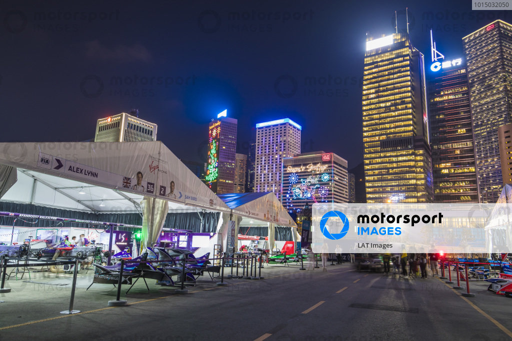 2017/2018 FIA Formula E Championship. Round 1 - Hong Kong, China. Saturday 02 December 2017. The pits at night. Photo: Sam Bloxham/LAT/Formula E ref: Digital Image _J6I6869