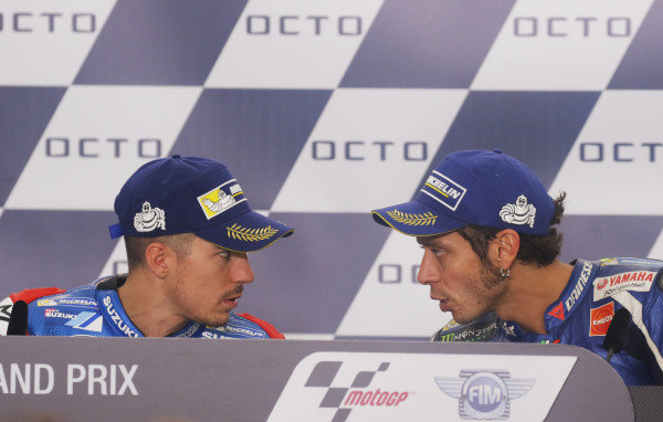 2016 MotoGP Championship.  British Grand Prix.  Silverstone, England. 2nd - 4th September 2016.  Maverick Vinales, Suzuki, and Valentino Rossi, Yamaha, during the press conference.  Ref: _W7_9621a. World copyright: Kevin Wood/LAT Photographic