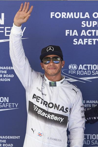 Circuit de Catalunya, Barcelona, Spain. Saturday 10 May 2014. Pole man Lewis Hamilton, Mercedes AMG. World Copyright: Steve EtheringtonLAT Photographic. ref: Digital Image SNE14922 copy