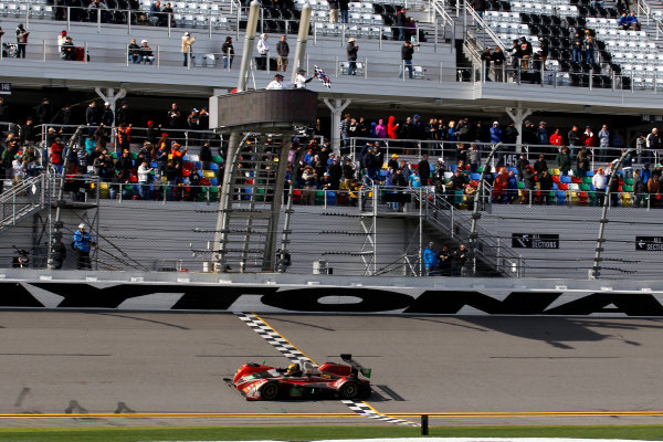 2017 Rolex 24 Hours. Daytona, Florida, USA Sunday 29 January 2017. Chechered flag for #38 Performance Tech Motorsports ORECA FLM09: James French, Kyle Mason, Patricio O'Ward, Nicholas Boulle World Copyright: Alexander Trienitz/LAT Images ref: Digital Image 2017-24h-Daytona-AT2-3345