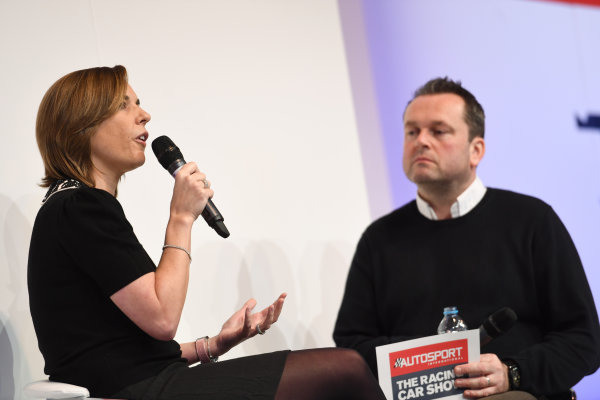 Autosport International Exhibition. National Exhibition Centre, Birmingham, UK. Sunday 15 January 2017. Claire Williams talks to Henry Hope-Frost. World Copyright: Sam Bagnall/LAT Images Ref: DSC_5675