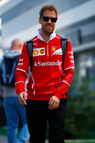 Sochi Autodrom, Sochi, Russia. Friday 28 April 2017. Sebastian Vettel, Ferrari.  World Copyright: Andy Hone/LAT Images ref: Digital Image _ONZ8962