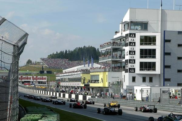 The start of round 14 with the pit complex in the background, due to be redeveloped.