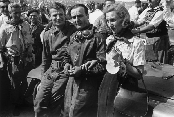 Le Mans, France. 25th - 26th June 1949.Luigi Chinetti and Lord Selsdon (Ferrari 166MM), 1st position, portrait. World Copyright: LAT Photographic.Ref:  L433 - 9A.