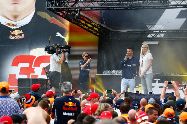 Spa Francorchamps, Belgium.  Saturday 26 August 2017. Pascal Wehrlein, Sauber, on stage in the F1 Fanzone. World Copyright: Sam Bloxham/LAT Images  ref: Digital Image _J6I9125