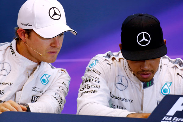 Spa-Francorchamps, Spa, Belgium. Saturday 22 August 2015. Nico Rosberg, Mercedes AMG, and Lewis Hamilton, Mercedes AMG, in the post Qualifying Press Conference. World Copyright: Alastair Staley/LAT Photographic ref: Digital Image _R6T5574