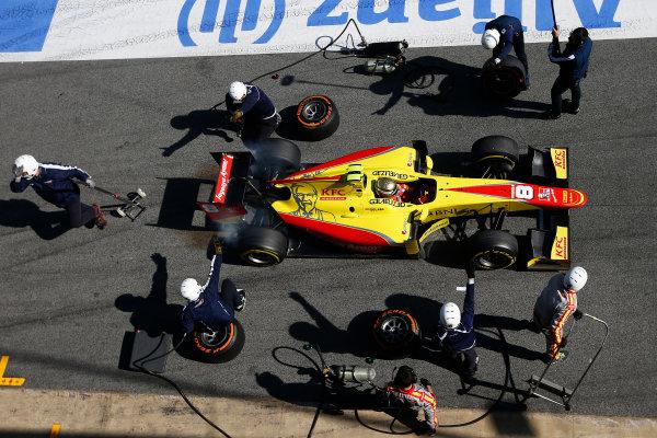 2016 GP2 Series Test 1. Circuit de Catalunya, Barcelona, Spain. Friday 11 March 2016. Sean Gelael (INA, Jagonya Ayam Campos Racing), makes a pit stop World Copyright: Sam Bloxham/LAT Photographic. ref: Digital Image _L4R9657