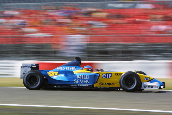 2003 European Grand Prix - Friday 1st Qualifying,Nurburgring, Germany.27thth June 2003.Fernando Alonso, Renault R23, actionWorld Copyright LAT Photographic.Digital Image Only.