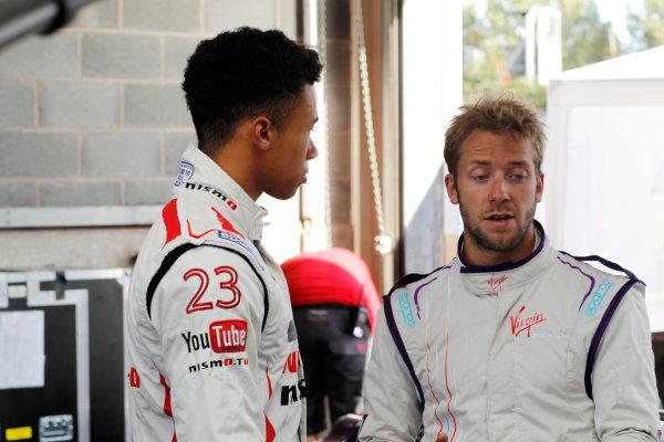 FIA Formula E Test Day, Donington Park, UK.  19th August 2014. Jann Mardenborough and Sam Bird.  Photo: Adam Warner/FIA Formula E ref: Digital Image _MG_5281