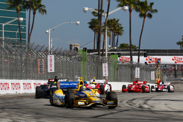 11-13 April, 2014, Long Beach, California USA Marco Andretti leads Oriol Servia and Carlos Huertas ©2014, Phillip Abbott LAT Photo USA