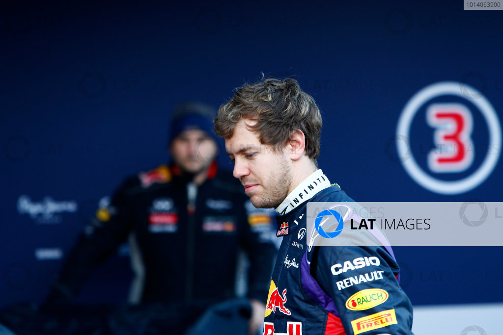 2014 F1 Pre Season Test 1 - Preview Circuito de Jerez, Jerez, Spain. Tuesday 28 January 2014. Sebastian Vettel, Red Bull Racing at the launch of the Red Bull RB10. World Copyright: Alastair Staley/LAT Photographic. ref: Digital Image _A8C7558