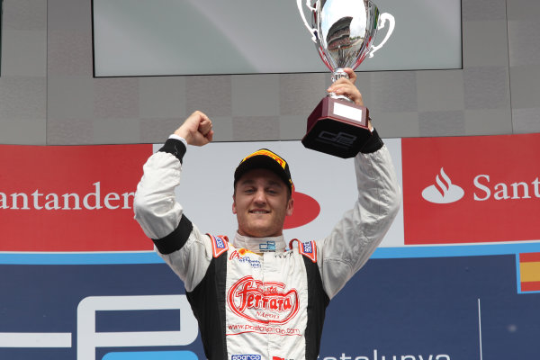 2013 GP2 Series. Round 3.  Circuit de Catalunya, Barcelona Spain. 12th May 2013. Sunday Race. Stefano Coletti (MON, Rapax) celebrates his victory on the podium.  World Copyright: Malcolm Griffiths/GP2 Series Media Service. Ref: C76D6009