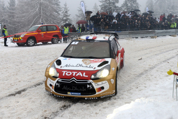 Sebastien Loeb (FRA) and Daniel Elena (MC), Citroen DS3 WRC on stage 14. FIA World Rally Championship, Rd1, Rally Monte- Carlo, Day Four, Monte-Carlo, Monaco, 19 January 2013.